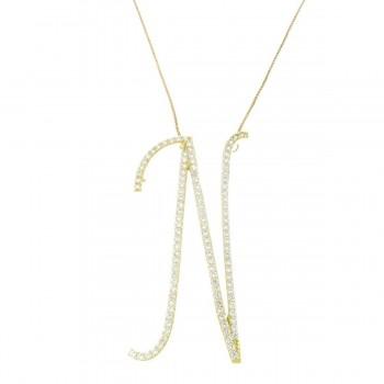 Кулон для женщины с цепочкой, желтое золото с белым цирконием