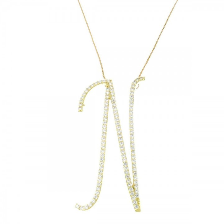 Pendant for women with chain, yellow gold with zircon
