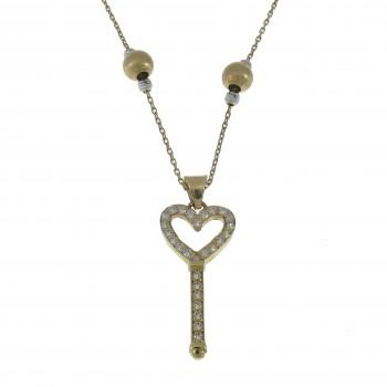 Женский кулон - ключ, желтое золото 14 карат с цирконием