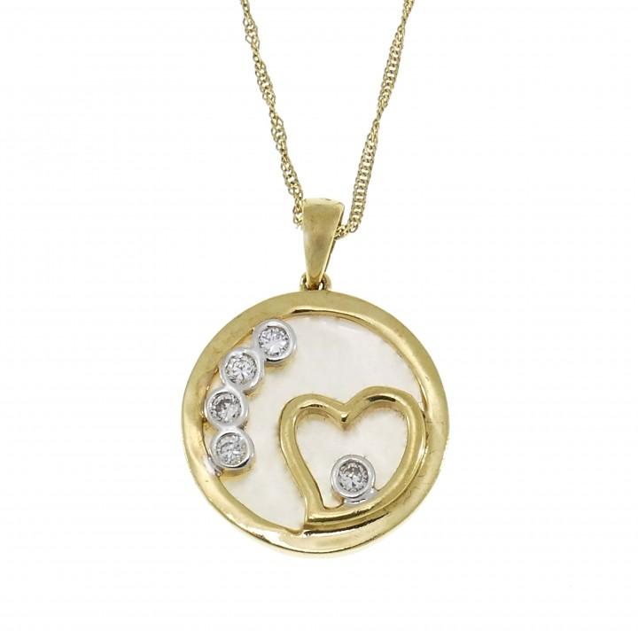 Кулон для женщины - сердце, жёлтое золото 14 карат с перламутром