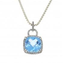 Кулон для женщины с бриллиантами и топазом, белое золото 14 карат