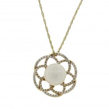 Кулон - цветок для женщины с фианитами и жемчужиной, жёлтое золото 14 карат