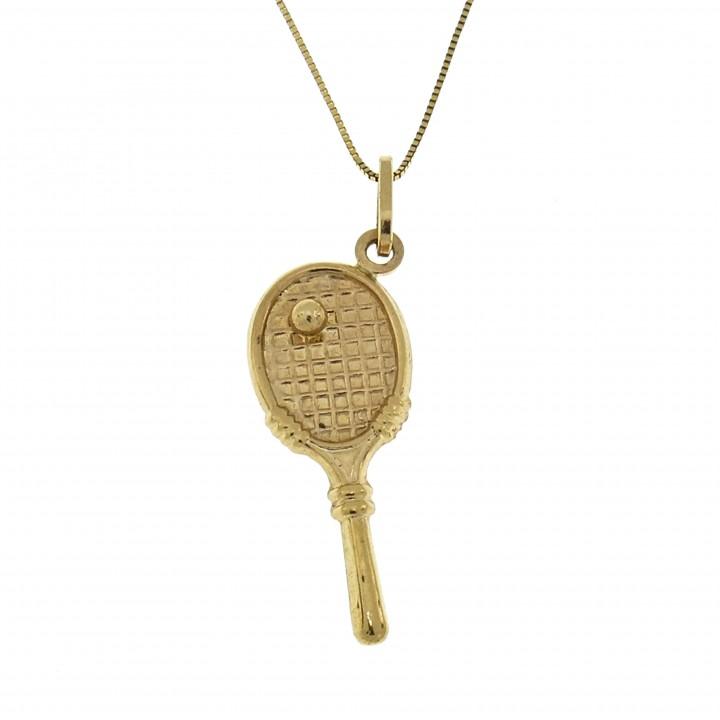 Кулон - теннисная ракетка, жёлтое золото 14 карат, длина 3.5 см
