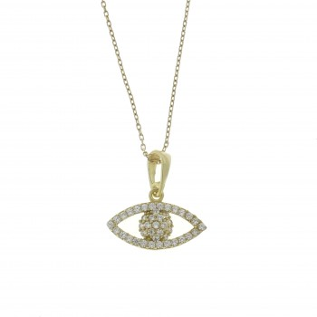 Кулон для женщины - глаз, цирконий, жёлтое золото 14 карат