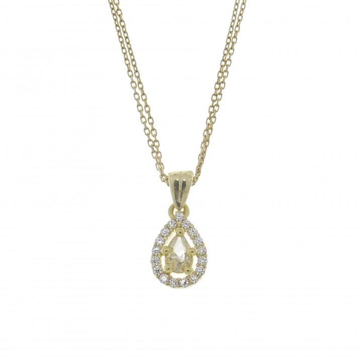 Кулон для женщины - капля, цирконий, жёлтое золото 14 карат