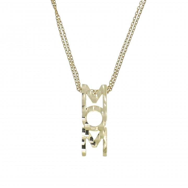 Кулон для женщины - Мама, цирконий, жёлтое золото 14 карат