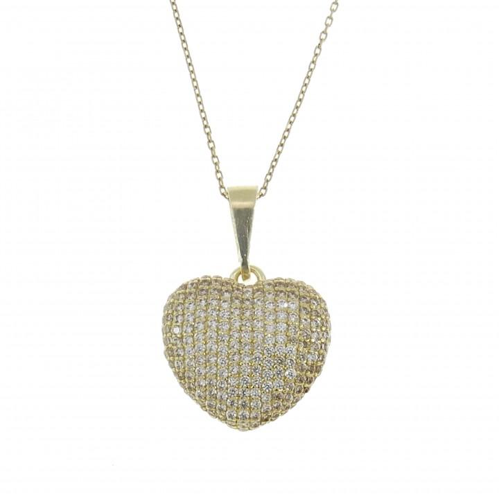 Кулон для женщины - сердце, жёлтое золото 14 карат с фианитами