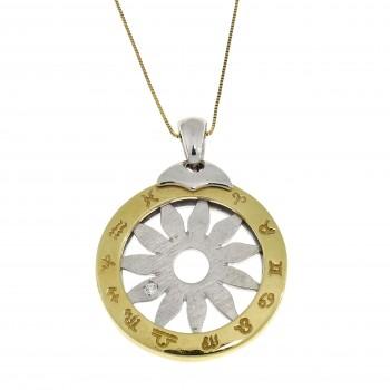 Кулон - знаки зодиака, жёлтое и белое золото 14 карат, длина 3.5 см