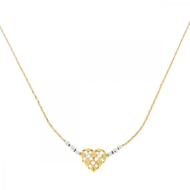 Кулон для женщины с цепочкой, красное и белое золото, 44 см