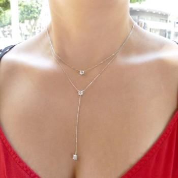 Цепочка для женщины, белое золото с цирконием, длина 59 см