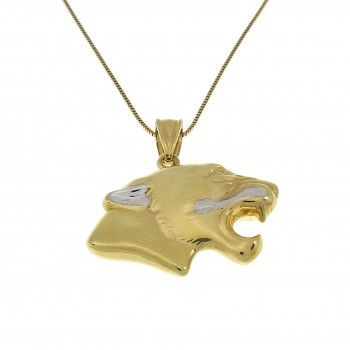 Кулон - голова пантеры, жёлтое золото 14 карат, длина 2.5 см