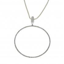 Кулон для женщины с бриллиантами, белое золото 14 карат, длина 5 см