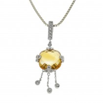 Кулон для женщины с бриллиантами и цитрином, белое золото 14 карат, длина 3 см