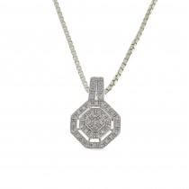 Кулон для женщины с бриллиантами, белое золото 14 карат, длина 2 см