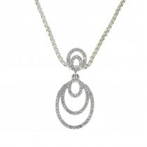 Кулон для женщины с бриллиантами, белое золото 14 карат, длина 2.5 см
