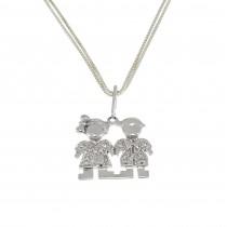 Кулон для женщины с бриллиантами - мальчик и девочка, белое золото 14 карат, длина 2 см