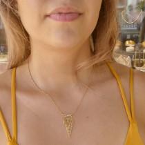 Кулон для женщины с цепочкой, красное и белое золото, длина 42 см