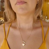 Кулон для женщины с цепочкой, желтое золото, длина 48 см