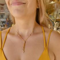 Кулон для женщины с цепочкой, желтое и белое золото, длина 56 см