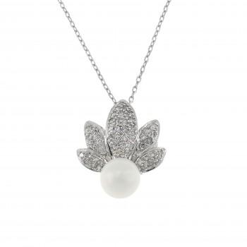 Круглый кулон для женщины с бриллиантами и жемчугом, белое золото 14 карат