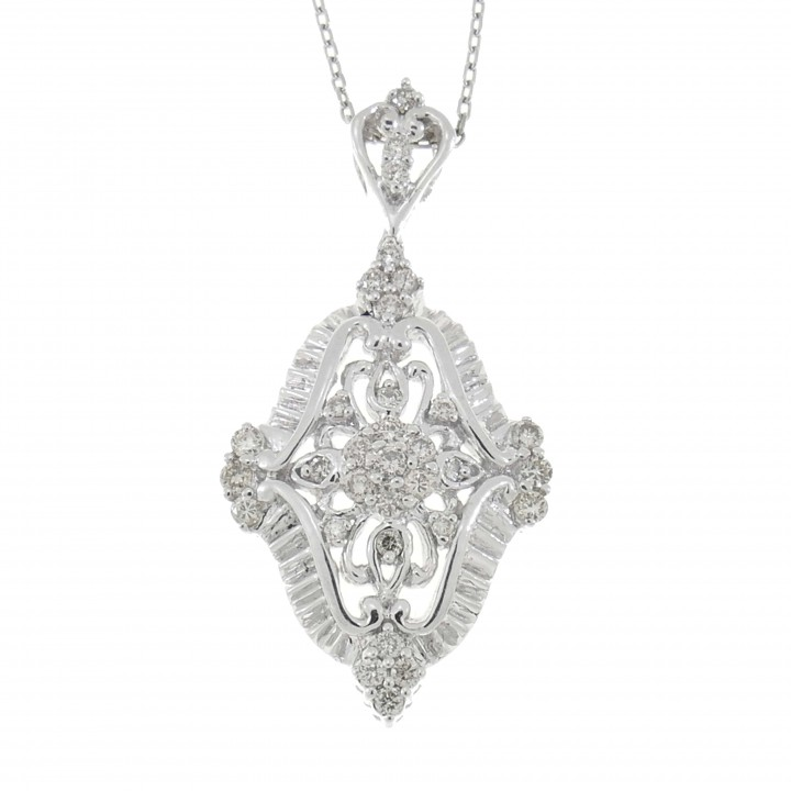 Кулон для женщины с бриллиантами, белое золото 14 карат, длина 4 см