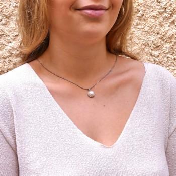 Круглый кулон для женщины с бриллиантами и жемчугом, белое золото 14 карат, длина 2 см