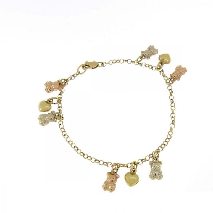 Браслет для женщины, красное, белое, желтое золото, длина 18 см