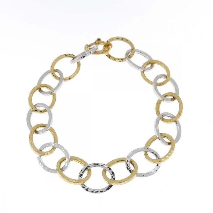 Браслет для женщины, желтое, белое золото 14к, длина 20 см