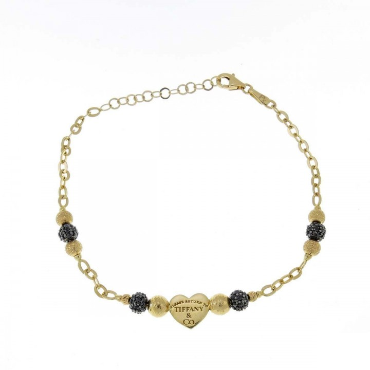 Bracelet for women, 14k yellow gold, black zirconium, length 20 cm