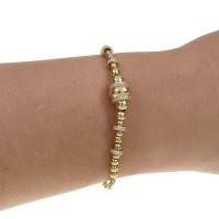Браслет для женщины, желтое золото с цирконием, длина 18 см