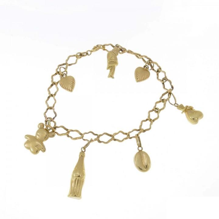 Bracelet for women, yellow gold, length 19 cm