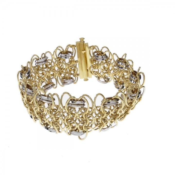 Браслет для женщины, желтое и белое золото 14 карат