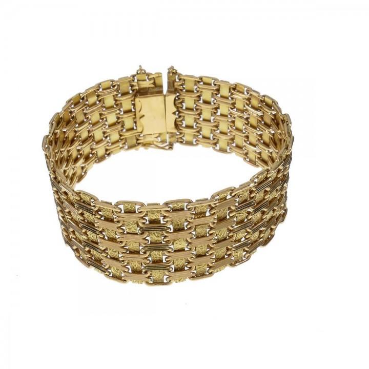 Браслет для женщины, широкий, жёлтое золото 18 карат, длина 19 см