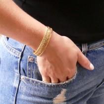 """צמיד לנשים, זהב צהוב 14 קראט, אורך 19 ס""""מ"""