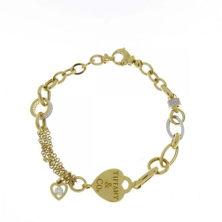 Браслет для женщины, желтое и белое золото, длина 20 см