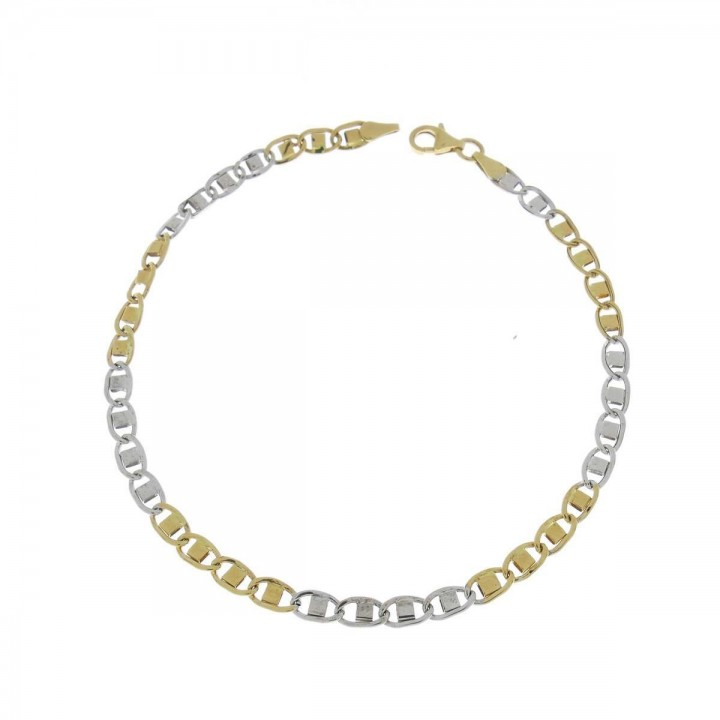 Bracelet for women, 14 ct white and yellow gold