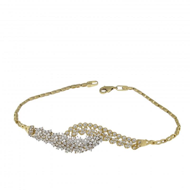Женский браслет, жёлтое золото 14 карат с цирконием