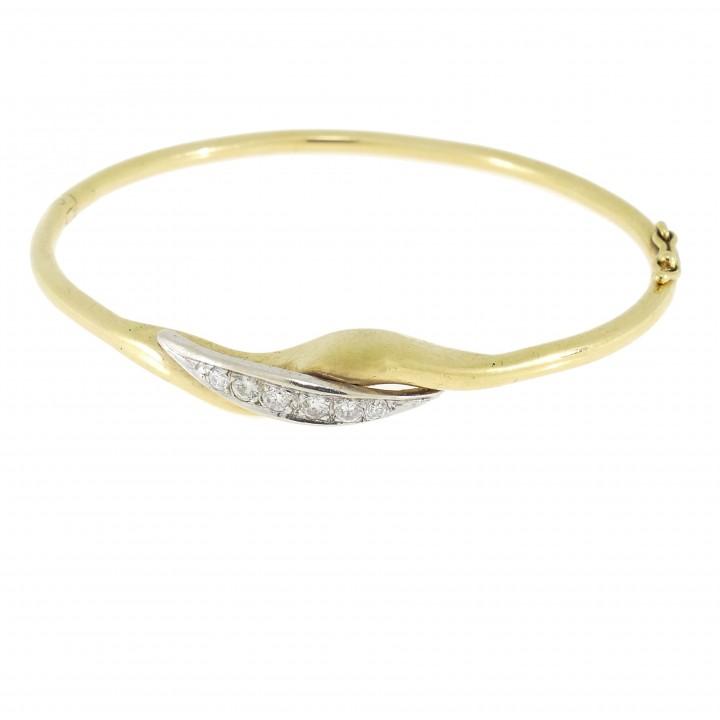 Браслет для женщины с бриллиантами, жёлтое золото 14 карат