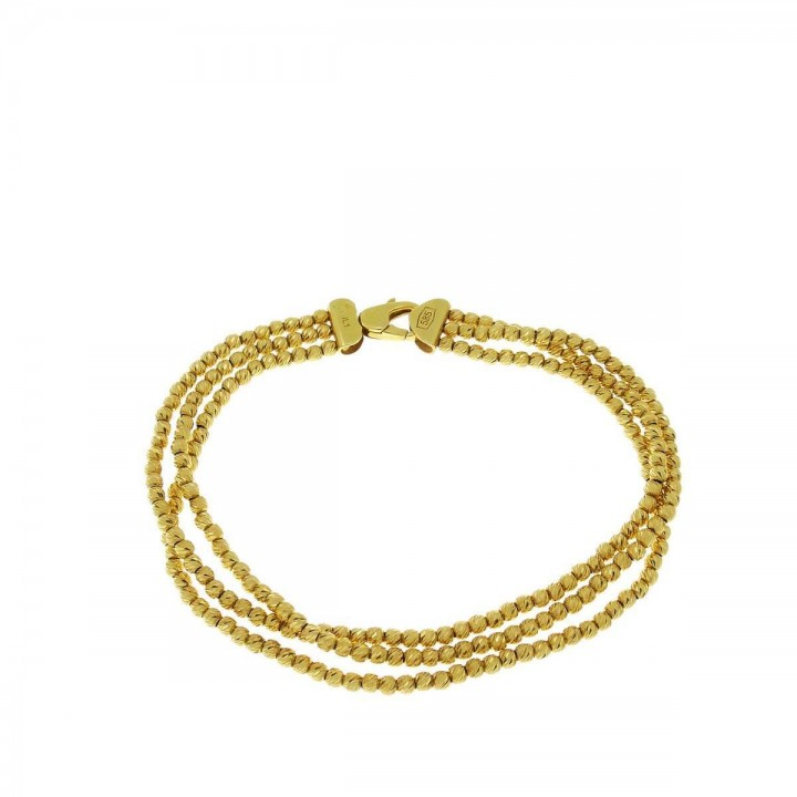 Браслет для женщины, желтое золото 14 карат, длина 19 см
