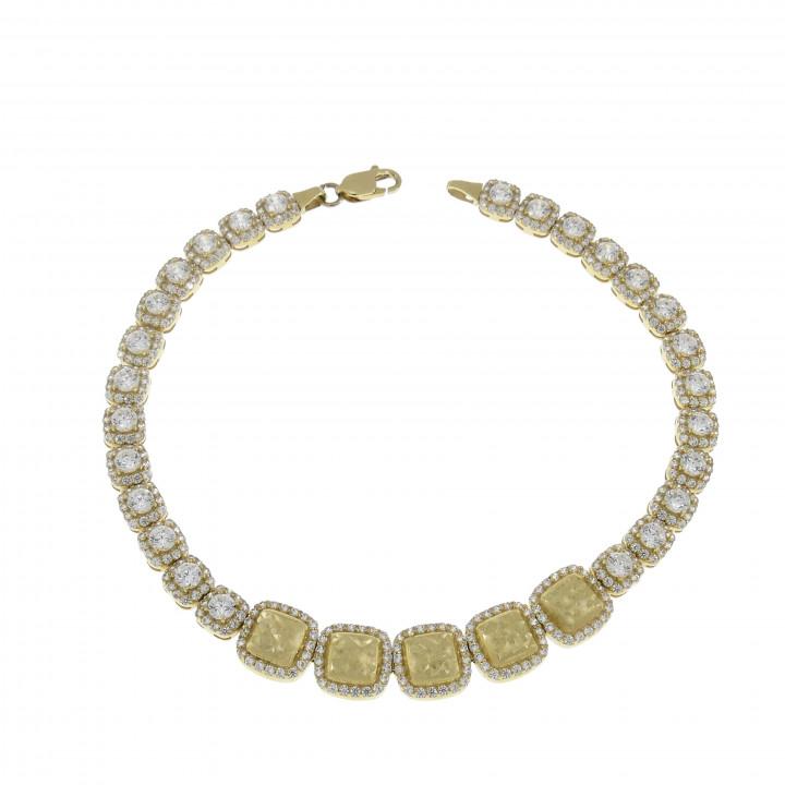 Женский браслет, жёлтое золото 14 карат и цирконий