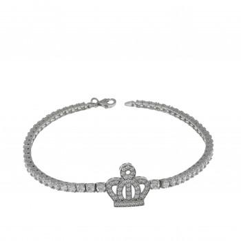 Браслет для женщины с цирконием, белое золото 14 карат