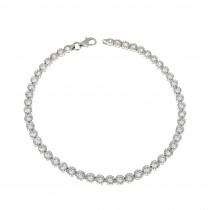 Tennis bracelet for woman, 14K white gold, length 19 cm