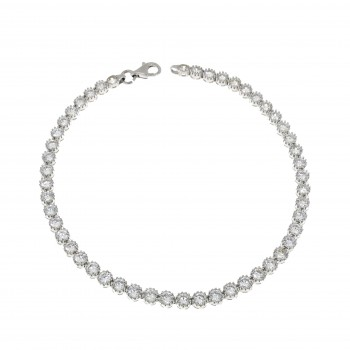 Tennis bracelet for woman, 14K white gold, length 19 cm