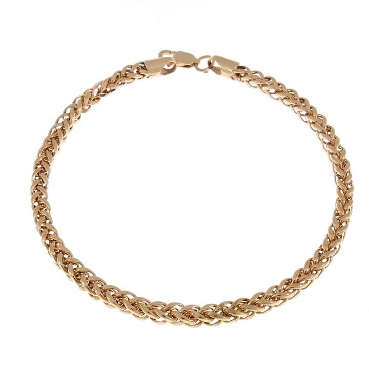 Women's gold bracelet, 14K red gold, length 21 cm