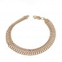 Браслет для женщины, широкий, красное золото 14 карат, длина 20 см