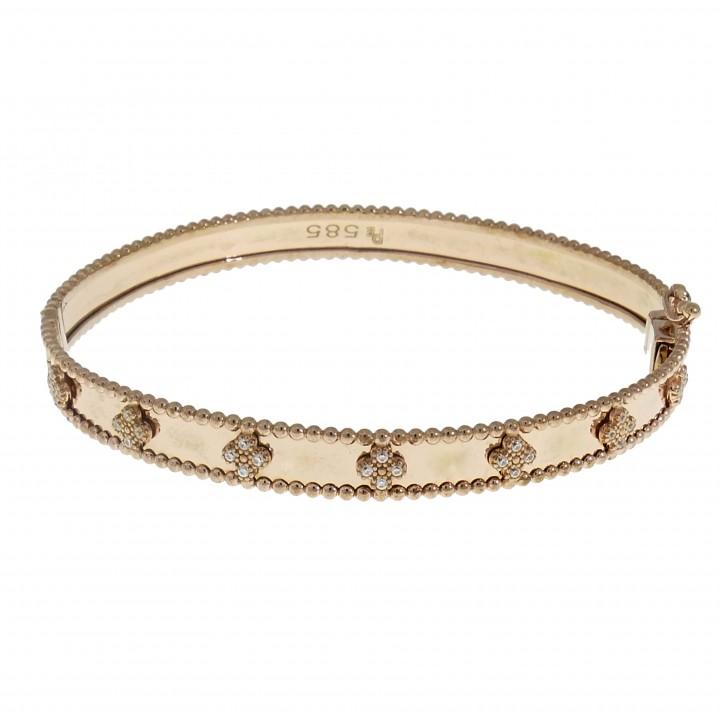 золотой женский браслет, жёсткий