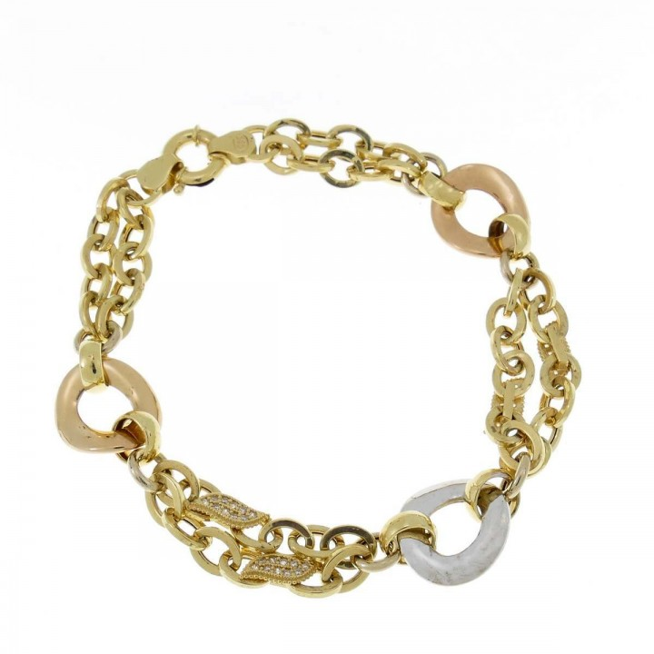 Bracelet for women, yellow, white, red gold, length 21.5 cm