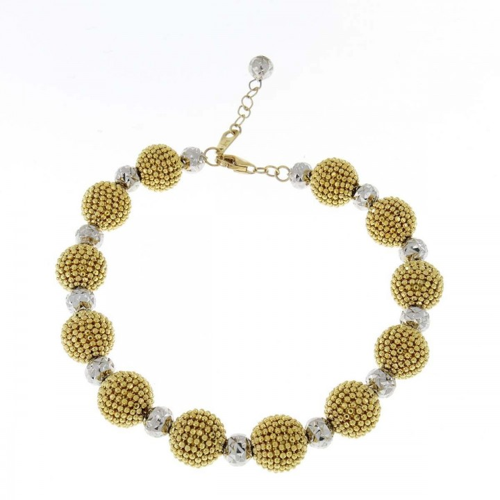 Bracelet for women, yellow and white gold, length 20.5 cm