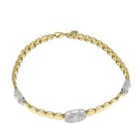 Браслет для женщины, желтое и белое золото, длина 18.5 см