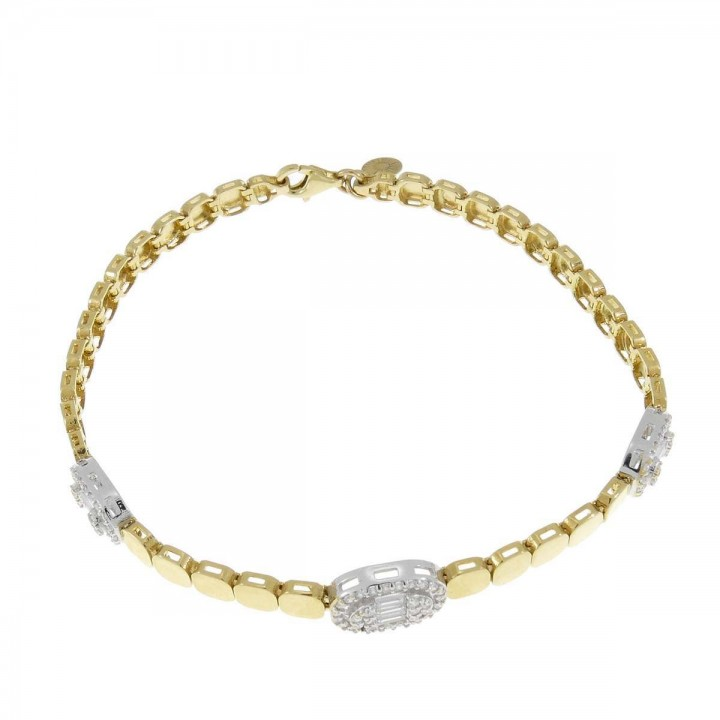 Bracelet for women, yellow and white gold, length 18.5 cm